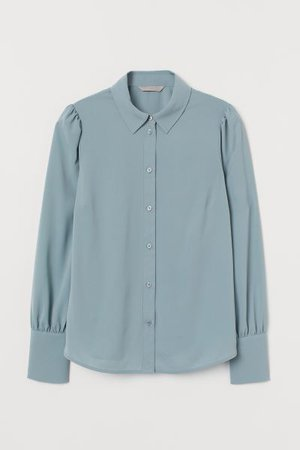 Puff-sleeved Blouse - Dark turquoise - Ladies | H&M US