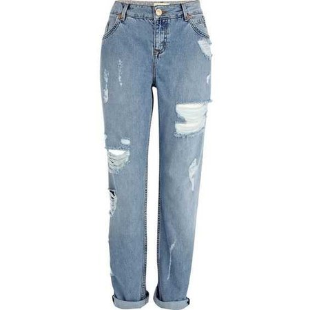 River Island Light wash ripped Cassie boyfriend jeans