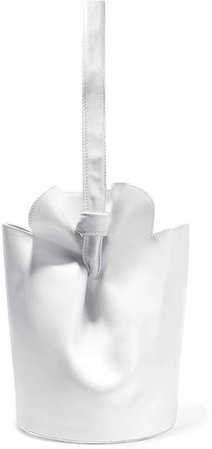 French Fry Textured And Patent-leather Bucket Bag - White