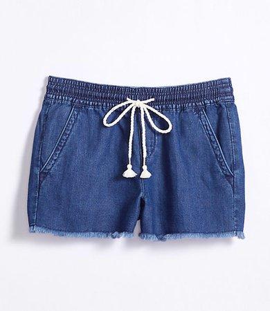 Cotton Linen Denim Pull On Shorts in Dark Indigo Wash