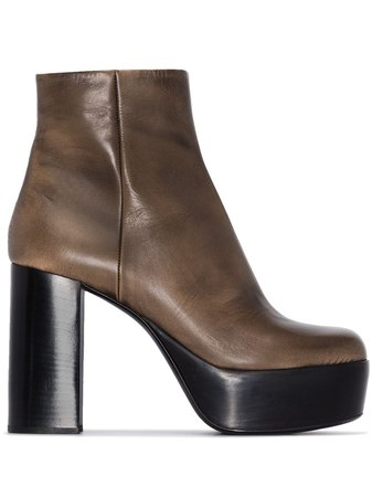Miu Miu Brown 110 Leather Platform Ankle Boots - Farfetch