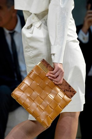 Camel Wood and intrecciato leather clutch | Bottega Veneta | NET-A-PORTER