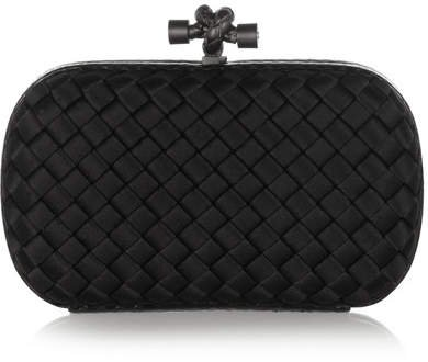 The Knot Watersnake-trimmed Intrecciato Satin Clutch - Black