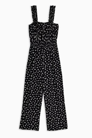 Black and White Shirred Jumpsuit   Topshop