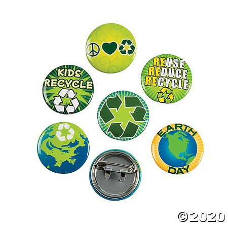 Earth Day Recycle Mini Buttons | Oriental Trading