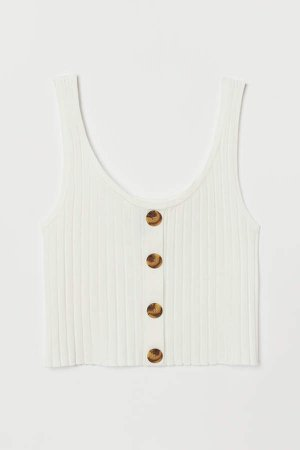 Ribbed Tank Top with Buttons - White