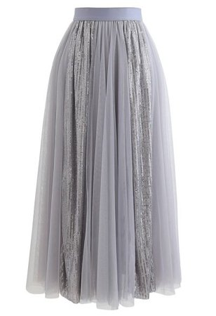 Chic Wish Shimmer Sequin Panelled Tulle Maxi Skirt in Cream - Retro, Indie and Unique Fashion
