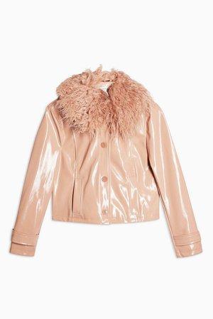 Peach Faux Fur Collar Crop PU Coat   Topshop