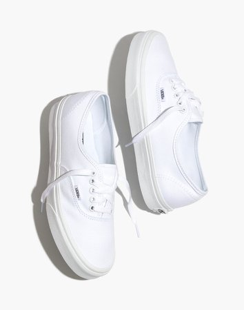 Vans Unisex Authentic Lace-Up Sneakers in White Canvas