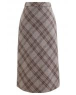 Check Print Wool-Blend Pencil Skirt in Sand - Retro, Indie and Unique Fashion