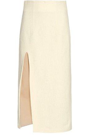 Piece of White Lisa Side-Slit Pencil Skirt