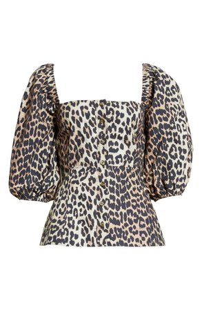 Ganni Leopard Print Puff Sleeve Blouse | Nordstrom