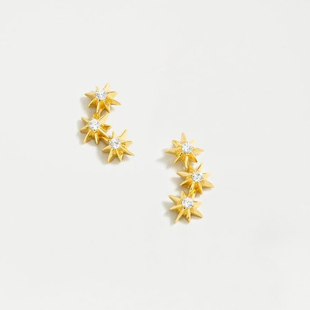 J.Crew: Demi-fine 14k Gold-plated Star Climber Earrings For Women