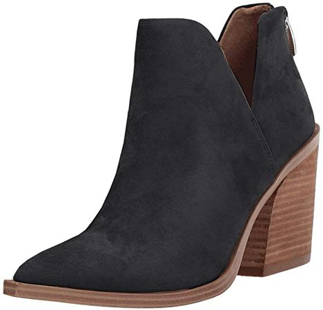 Amazon.com | FISACE Womens Pointed Toe Stacked Mid Heel Ankle Boots V Cut Back Zipper Faux Leather Booties | Ankle & Bootie