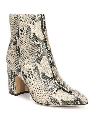 Sam Edelman Hilty Snake-Print Leather Booties | Neiman Marcus