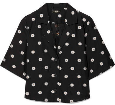 Athena Cropped Floral-jacquard Shirt - Black