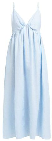 Loup Charmant - Adelaide V Neck Linen Midi Dress - Womens - Blue
