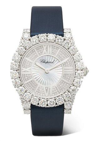 Chopard | L'Heure du Diamant 35.75mm 18-karat white gold, satin, diamond and mother-of-pearl watch | NET-A-PORTER.COM