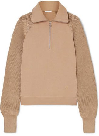 Cotton-terry And Ribbed-knit Sweatshirt - Camel