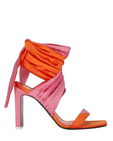The Attico Paris Satin Colorblock Wrap Sandals | INTERMIX®