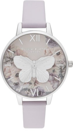 3D Butterfly Leather Watch, 34mm