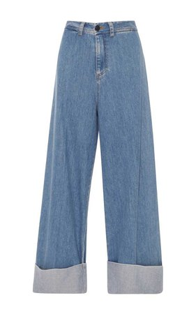 Sea Cuffed Wide Leg Denim Pants