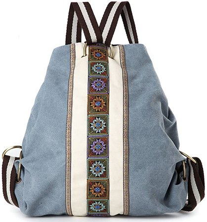 Women Canvas Backpack Daypack Casual Shoulder Bag, Vintage Heavy-duty Anti-theft Travel Backpack (Blue Grey)