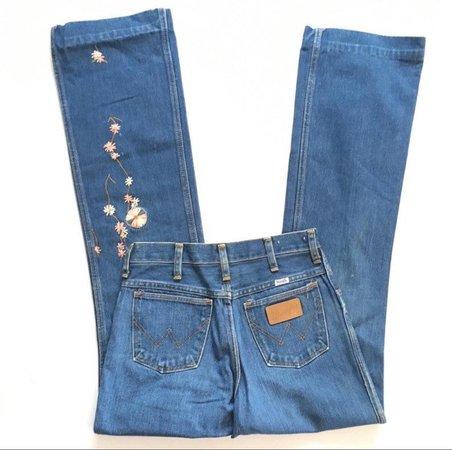Vtg. 70s Wrangler Floral Embroidered Jeans   Etsy