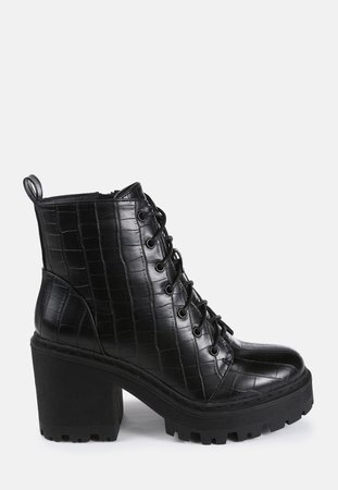 Black Croc Cleated Sole Lace Up Ankle Boots | Missguided
