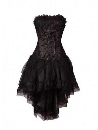 black fashion gothic high-low dress