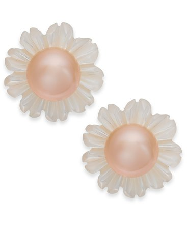 Macy's Sterling Silver Pink Cultured Button Freshwater Pearl & White Mother-of-Pearl Stud Earrings