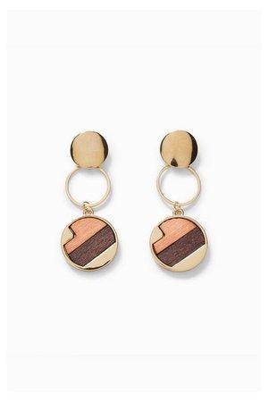 Long Wooden Earrings - Wood orange | Desigual.com