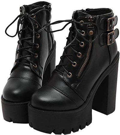 Amazon.com | Parisuit Women's Chunky High Heel Lace Up Combat Boots Platform Goth Ankle Boots Punk Buckle Booties-Black Size 4 | Ankle & Bootie