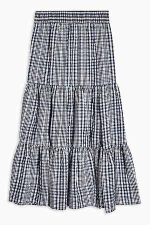 Blue Check Tiered Split Midi Skirt | Topshop
