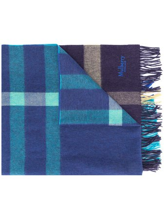 Mulberry checked fringed scarf - FARFETCH