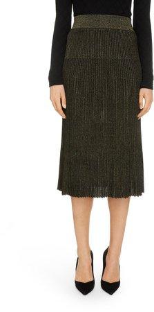 Metallic Knit Pleated Skirt
