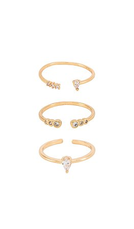 Ettika Crystal Stacking Rings in Gold | REVOLVE