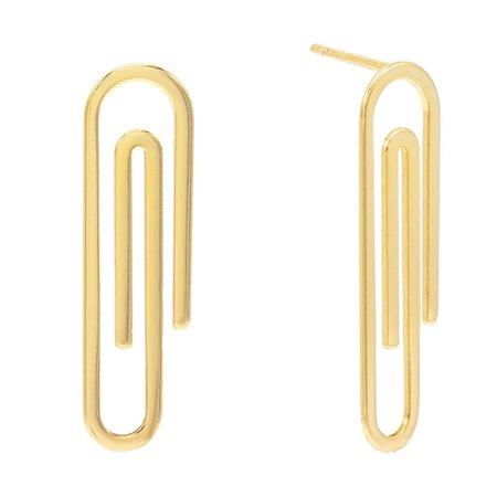 Gold Paperclip Stud Earring   Adina's Jewels