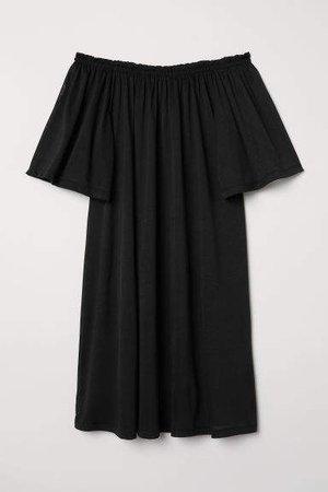 Off-the-shoulder Dress - Black
