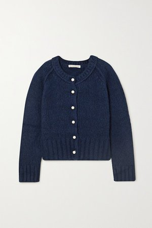Faux Pearl-embellished Merino Wool-blend Cardigan - Navy