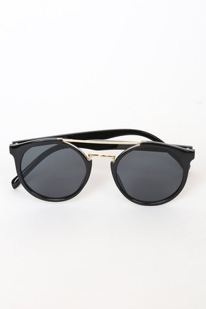 Chic Black Sunglasses - Round Sunglasses - Black Sunnies