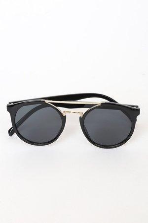 Chic Black Sunglasses - Round Sunglasses - Black Sunnies
