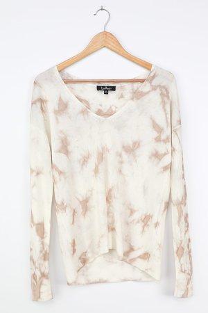 Ivory Tie-Dye Sweater - Slouchy Sweater Top - Lightweight Sweater