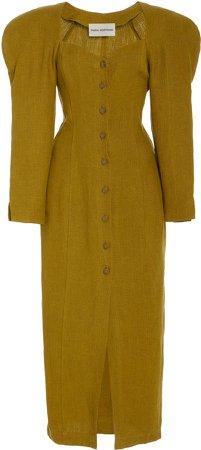 Mara Hoffman Janelle Puffed-Sleeve Hemp Dress