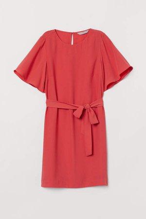 Tie Belt Dress - Red