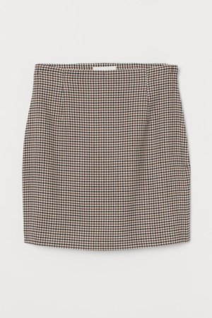 Short Skirt - Brown/houndstooth-patterned - Ladies | H&M US