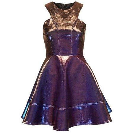 Purple Metallic Skater Dress