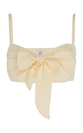 Gül Hürgel Linen Tie-Front Bandeau Top Size: XS