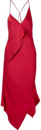 Jimboy Asymmetric Hammered Silk-satin Midi Dress - Claret