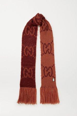 Claret Fringed brushed mohair-blend jacquard-knit scarf | Gucci | NET-A-PORTER